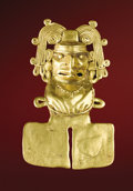 Pre-Columbian:Metal/Gold, Pendant Deity. Mixtec. A.D. 1000 - 1300. Gold, Weight 14 grams.Height 2 1/4 in. Width 1 1/2 in.. The ancient ancestry of...