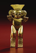 Pre-Columbian:Metal/Gold, Shaman with Arms Raised. Veraguas, Chiriquí, Diquís. A.D. 700 -1500. Gold, Weight 30.1 grams. Height 3 in. Width 1 ½ in.. ...