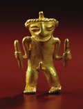 Pre-Columbian:Metal/Gold, Pendant: Standing Male Figure. Costa Rica or Panama. A.D. 700 -1500. Gold, Weight 37.5 grams. Height 2 1/8 in. Width 1 ½ i...