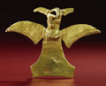 Pre-Columbian:Metal/Gold, Bird-form Pendant. A.D. 700 - 1500. Costa Rica or Panama. Gold.Height 4 ¾ in. Width 3 5/8 in.. The primary interest of t...