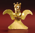 Pre-Columbian:Metal/Gold, Bird-form Pendant. Costa Rica or Panama. A.D. 700 - 1500. Gold,Weight 36.2 grams. Height 2 5/8 in. Width 2 3/4 in.. Heav...