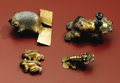 Pre-Columbian:Metal/Gold, Four Frog-form Pendants. Costa Rica or Panama. A.D. 700/800 - 1500.Tumbaga. (A) Height 2 in. Width 2 ¼ in. Weight ... (Total: 4Items)