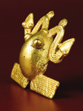Pre-Columbian:Metal/Gold, Frog Pendant with Double-headed Serpent. Costa Rica or Panama. A.D.700 - 1500. Gold, Weight 32.4 grams. Height 2 in. Width...