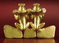 Pre-Columbian:Metal/Gold, Double Frog Pendant. Veraguas, Chiriquí. A.D. 700 - 1500. Gold,Weight 60.5 grams. Height 2 ½ in. Width 3 5/8 in.. These ...