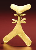 Pre-Columbian:Metal/Gold, Bird-form Pendant. Costa Rica or Panama. A.D. 700 - 1500. Gold,Weight 13 grams. Height 2 ¼ in. Width 2 in.. This flat bi...