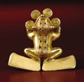 Pre-Columbian:Metal/Gold, Pendant Frog. Veraguas, Chiriquí. A.D. 700 - 1500. Gold, Weight63.1 grams. Length 3 in. Width 3 1/8 in.. Four large, coi...