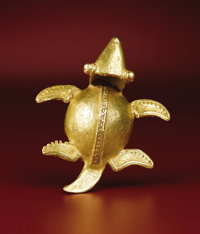 Turtle-form Bell Pendant Veraguas - Chiriquí A.D. 700 - 1500 Gold, Weight 87.0 grams Length 3 1/8 in. Width 2 11/...