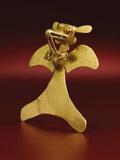 Pre-Columbian:Metal/Gold, Bird-form Pendant. Diquís, Veraguas, Chiriquí. A.D. 700/800 - 1520.Gold, Weight 106.31 grams. Height 4 1/8 in. Width 4 1/1...