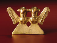 Double-bird Pendant Azuero Peninsula A.D. 200/300 - 700 Gold, Weight 79.91 grams Height 2 ¼ in. Width 3 ½...