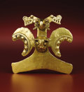 Paintings, Bird-form Pendant. Diquís Delta. A.D. 700 - 1500. Gold, Weight 133.66 grams. Height 3 ½ in. Width 3 ¾ in.. The special fe... (Total: 1 Item Item)