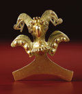 Pre-Columbian:Metal/Gold, Bird-form Pendant. Diquís Delta. A.D. 700 - 1500. Gold, Weight132.01 grams. Height 4 5/16 in. Width 3 13/16 in.. This h...