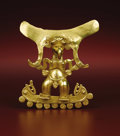 Paintings, Pendant: Standing Supernatural. Veraguas or Diquís. A.D. 700 - 1500. Gold, Weight 110.2 grams. Height 3 ¾ in. Width 3 5/16 i... (Total: 1 Item Item)