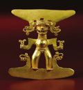 Pre-Columbian:Metal/Gold, Pendant: Standing Deity. Veraguas, Chiriquí, or Diquís. A.D. 700 -1500. Gold, Weight 66.6 grams. Height 3 3/8 in. Width 3 3...