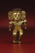 Paintings, Pendant: Male Shaman Holding Rattles. Veraguas or Chiriquí. A.D 700 - 1500. Tumbaga, Weight 110.1 grams. Height 4 ¼ in.... (Total: 1 Item Item)