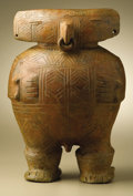 Ceramics & Porcelain:PreColumbian Ceramics, Standing Male Figure. Calima. 100 B.C. - A.D. 400. Burnished ceramic. Height 12 1/2 in. Width 9 in.. The radically styliz... (Total: 1 Item Item)