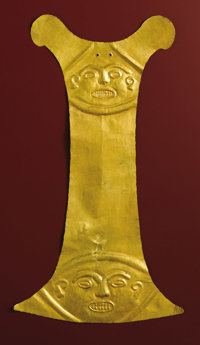 Tall Blade-shaped Breast Plate Calima 200 B.C. - A.D. 200 Gold Height 16 in. Width 9 1/16 in.  This important tall bl