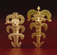 Two Pendants Representing Shamans Sinú A.D. 100 - 700 Gold, Weight 50 grams (total) Height 2 1/4 in. Width 1 3/8...