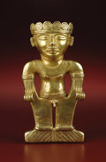 Monumental Standing Figure, Possibly a Shaman Quimbaya, Urabá Area A.D. 500 - 1000 Gold, Weight 287.4 grams Heigh...