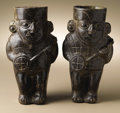 Pre-Columbian:Ceramics, Pair of Figural Effigy Jars. Moche (Loma Negra?). 200 B.C. - A.D.100. Ceramic, burnished blackware. (A) Height 9 in. Width...(Total: 2 Items)