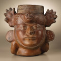 Pre-Columbian:Ceramics, Portrait Vessel. Moche. A.D. 250 - 500. Ceramic, white slip. Height 9 3/4 in. Width 10 1/4 in.. This portrait vessel exem...