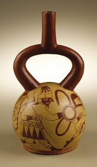 Stirrup-spout Vessel with Warriors and Prisoners Moche A.D. 300 - 600 Ceramic, red on buff Height 11 1/4 in. Diameter 6...