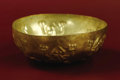 Pre-Columbian:Metal/Gold, Small Bowl with Six Repoussé Lizards. Moche (early). A.D. 100 -300. Gold, Weight 26 grams. Height 1 1/2 in. Diameter 3 in....