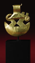 Pre-Columbian:Metal/Gold, Tweezers Surmounted by a Profile Animal Figure. Moche. A.D. 100 -500. Gold, traces of red pigment, Weight 0.8 grams. Height...
