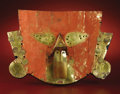 Paintings, Face Mask. Sicán. A.D. 700 - 1100. Gold, red pigment. Height 8 1/2 in. Width 12 1/2 in.. This gold face mask is of the ki... (Total: 1 Item Item)