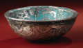 Pre-Columbian:Metal/Gold, Double-walled Ceremonial Bowl. Sicán. A.D. 700 - 1100. Silver, redpaint, Weight 182 grams. Height 2 3/4 in. Diameter 7 3/4 ...