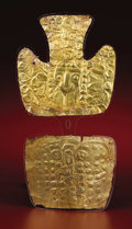 Pre-Columbian:Metal/Gold, Diadem and Pectoral. Sihuas. A.D. 100 - 300. Gold. Diadem Height 61/8 in. Width 6 in.. Pectoral Height 4 1/2 in. Width 5 ... (Total:2 Items)