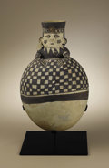 """Pre-Columbian:Ceramics, Jar with """"Swimmer"""" Figure at Neck. Chancay. A.D. 1000 - 1350.Ceramic with cream and black slip. Height 161/2 in. Diameter ..."""