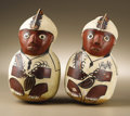 Pre-Columbian:Ceramics, Pair of Figurative Vessels. Nasca. A.D. 300 - 500. PolychromeCeramic. (A) Height 8 1/4 in.. (B) Height 8 in.. Almost iden...(Total: 2 Items)