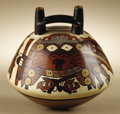Pre-Columbian:Ceramics, Double-spout Strap-handle Vessel. Nasca. 100 B.C.- A.D. 250.Polychrome ceramic. Height 5 3/4 in. Width 5 5/8 in.. On thi...