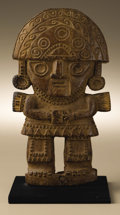 Ceramics & Porcelain:PreColumbian Ceramics, Standing Dignitary. Sicán. A.D. 700 - 1100. Wood. Height 7 1/4 in. Width 4 1/8 in.. A fully frontal figure stands with ha... (Total: 1 Item Item)