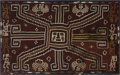 Pre-Columbian:Textiles, Large rectangular panel with central face. Sihuas. A.D. 100 - 400.Camelid, cotton fiber. Height 38 1/4 in. Width 63 1/2 in...