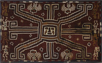 Large rectangular panel with central face Sihuas A.D. 100 - 400 Camelid, cotton fiber Height 38 1/4 in. Width 63 1/2 in...
