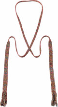 Pre-Columbian:Textiles, Headband. Nasca. A.D. 100 - 500. Camelid fibers, cotton. Length 144in. Width 1 1/2 in.. A longer, central narrow band is ...
