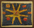 Pre-Columbian:Textiles, Tunic Panel. Huari. A.D. 600 - 900. Feathers sewn to cloth backing.Height 24 3/4 in. Width 30 3/4 in.. This bold image f...