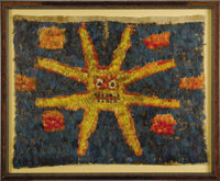 Tunic Panel Huari A.D. 600 - 900 Feathers sewn to cloth backing Height 24 3/4 in. Width 30 3/4 in.  This bold image f