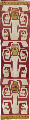 Large Temple Textile Panel with Three Stylized Figures Ica A.D. 1000 - 1350 Camelid Fiber, and cotton Height 93 ¼...