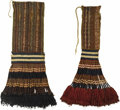 Pre-Columbian:Textiles, Two Coca Bags with Extensive Fringe. Late Horizon. A.D. 1300-1530.Camelid fibers, cotton. Height 23 3/8 in. Width 12 in.. ... (Total:2 Items)