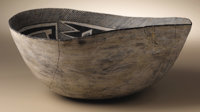 Socorro Black on White Bowl Circa 1050-1275 AD Height 4 1/2 in. Diameter 11 1/4 in.  This ancient oval bowl is painted o...
