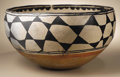 Native American:Pottery and Baskets, Santo Domingo Polychrome Dough Bowl. Circa 1930. Height 8 3/4 in.Width 15 1/2 in.. This typical three-color bowl is paint...