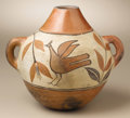 Native American:Pottery and Baskets, Zia Polychrome Pottery Vessel. Circa 1930. Height 6 1/2 in.Width 7 1/2 in.. This three-color jar features a tall red ...