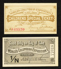 Miscellaneous:Other, World's Columbian Exposition 1893 Tickets.. ... (Total: 2 items)