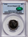 Proof Liberty Nickels, 1910 5C PR66 Cameo PCGS. CAC....