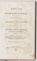 Books:Medicine, Horace Green. A Treatise on Diseases of the Air Passages.Putnam, 1853. Third edition. Owner's name. Foxing and toni...