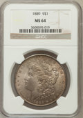 Morgan Dollars: , 1889 $1 MS64 NGC. NGC Census: (13623/2141). PCGS Population(9048/1842). Mintage: 21,726,812. Numismedia Wsl. Price for pro...