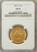 Liberty Eagles: , 1847-O $10 AU55 NGC. NGC Census: (137/106). PCGS Population(23/18). Mintage: 571,500. Numismedia Wsl. Price for problem fr...