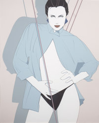 PATRICK NAGEL (American, 1945-1984) Posing Color silkscreen 34-1/2 x 28-1/2 inches (87.6 x 72.4 c